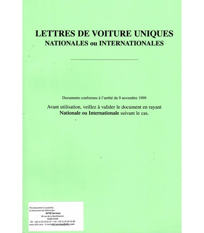 Document unique de transport national et international