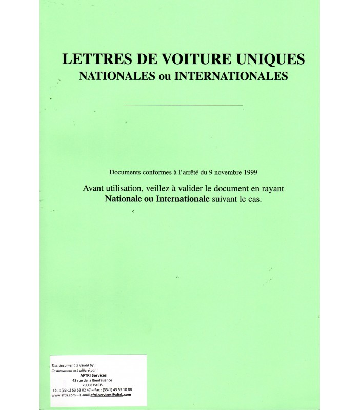 Document unique de transport national et international