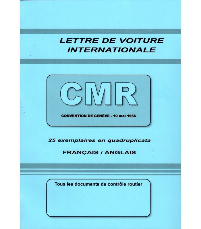 Lettre de voiture internationale CMR (carnet de 25 ex.) grand format 210 x 297