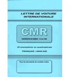 Lettre de voiture internationale CMR (carnet de 25 ex. personnalisés) grand format 210 x 297