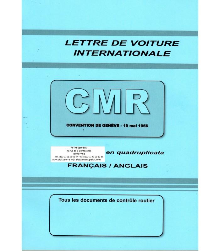 Lettre de voiture internationale CMR (carnet de 50 ex.) grand format 210 x 297