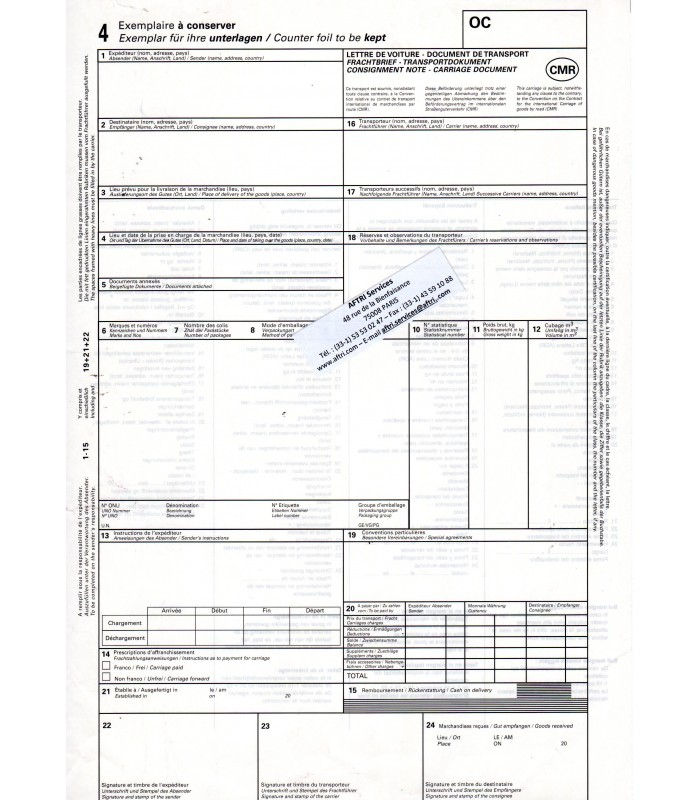 Lettre de voiture internationale CMR (liasse de 500 ex. neutres) grand format 210 x 297