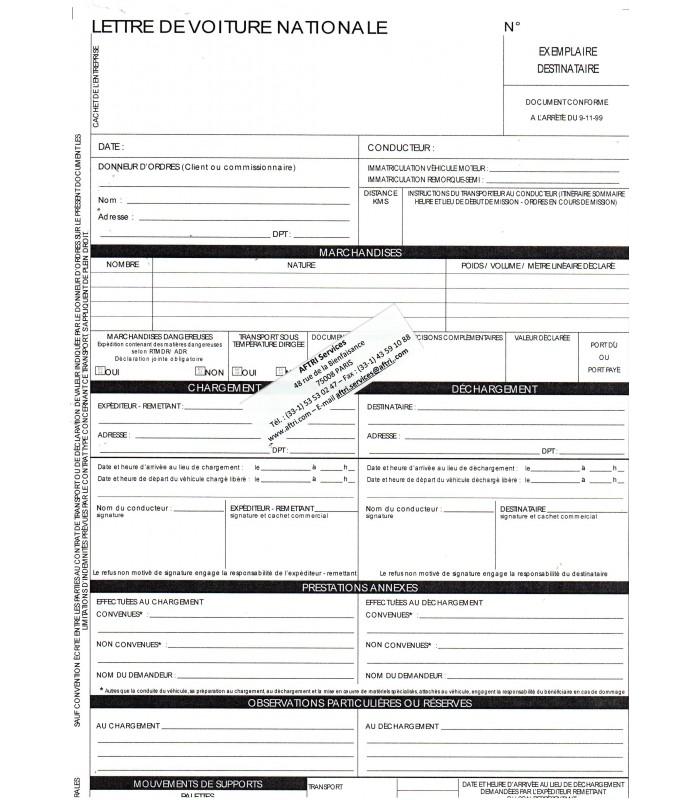 Lettre de voiture nationale LVN (carnet de 25 ex. X4 grand format)grand format 210 x 297
