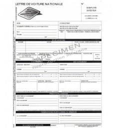 Lettre de voiture nationale LVN (carnet de 25 ex. X4 grand format personnalisés)