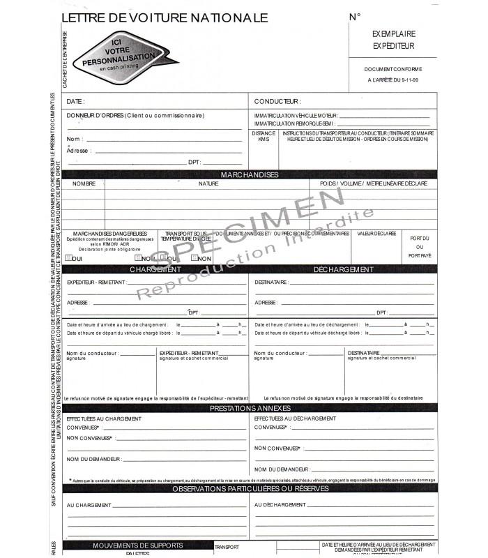 Lettre de voiture nationale LVN (carnet de 50 ex. X4 grand format personnalisés)