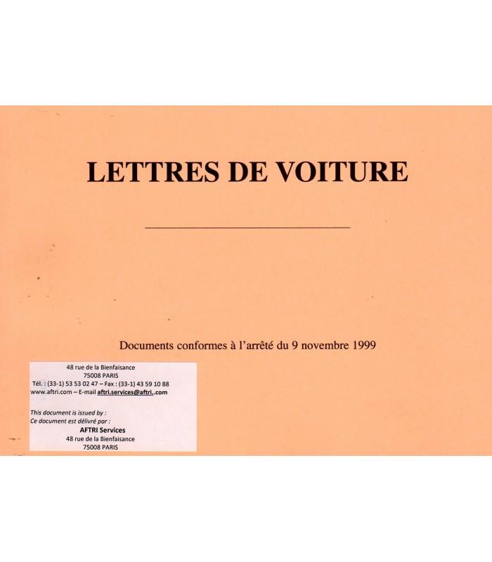 Lettre de voiture nationale LVN (carnet de 50 ex. X4 petit formatpersonnalisés)