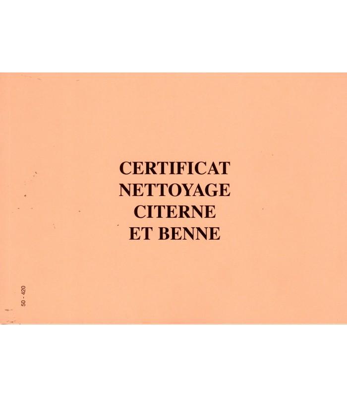 Certificat Nettoyage citerne et Benne - carnets de 25 liasses en 4 exemplaires