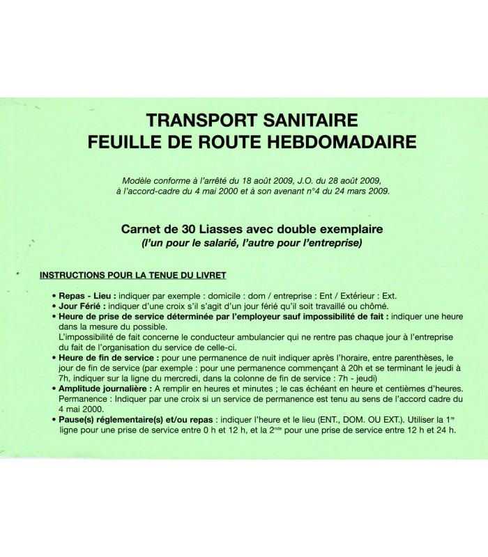 Transport Sanitaire - Feuille de route hebdomadaire carnets de 30 liasses